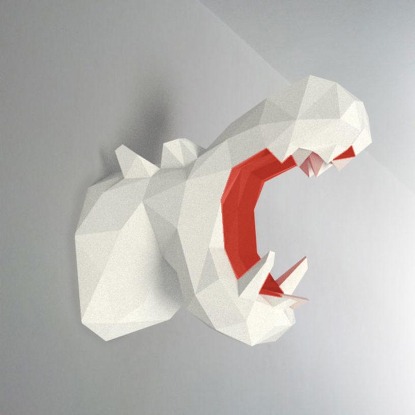 Hipopótamo branco vermelho