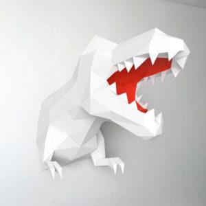 Dinossauro branco e vermelho