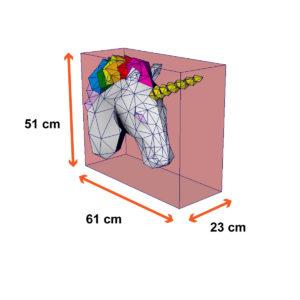 tamanho unicórnio arco-íris