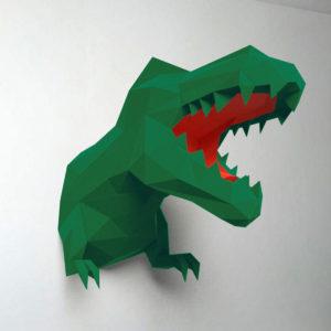 Dinossauro verde e vermelho