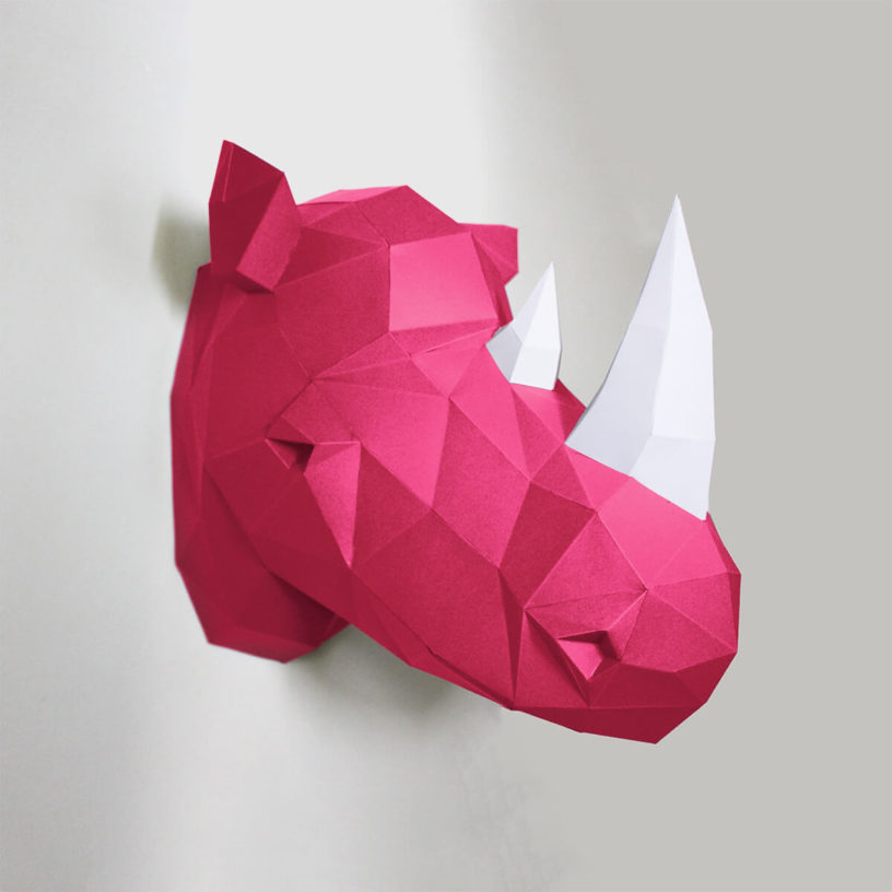 Rinoceronte rosa e branco
