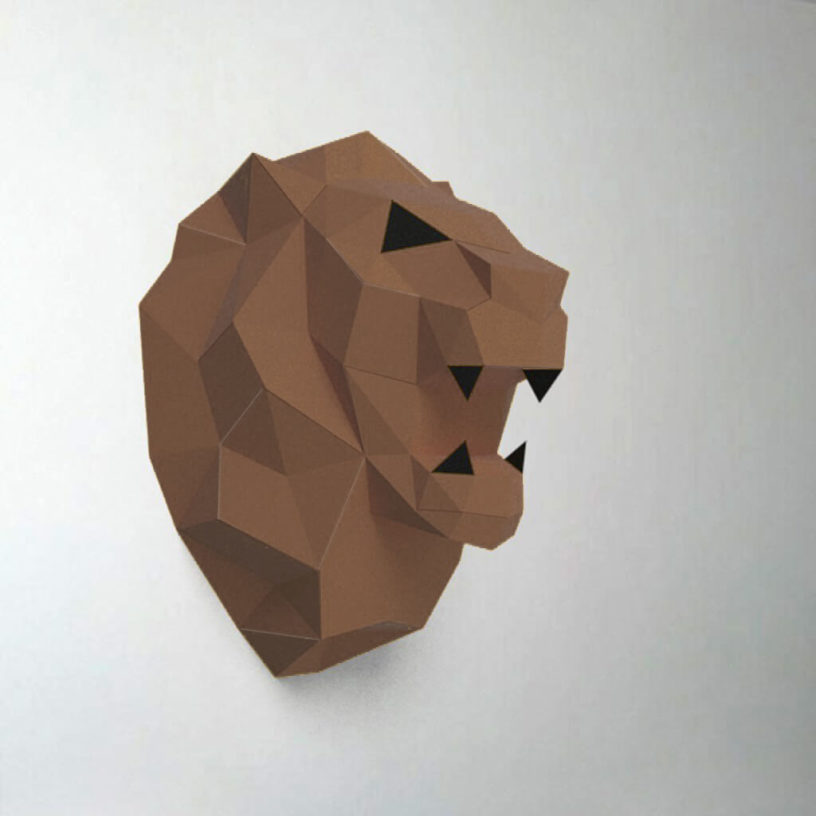 leão marrom e preto